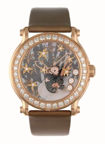 Chopard Superb Ladys Happy Sport Diamond And Gem-set Panda Watch Replica