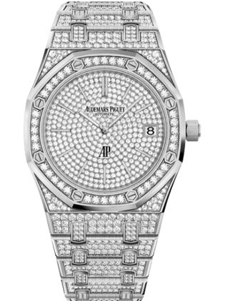 Audemars Piguet Royal Oak Extra-Thin White Gold Diamond Watch Replica
