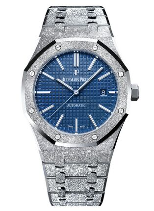 Audemars Piguet Royal Oak 15410 Frosted White Gold Blue Dial Watch Replica