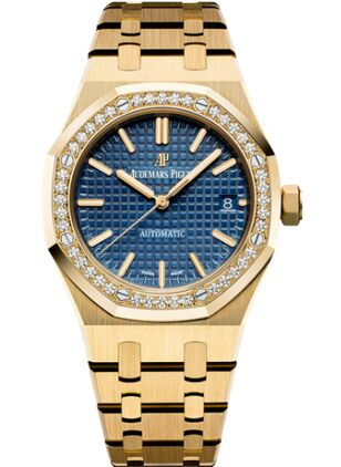 Audemars Piguet Royal Oak 15451 Selfwinding Yellow Gold Blue Watch Replica