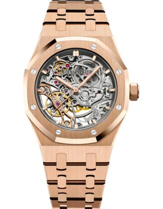 Audemars Piguet Royal Oak Double Balance Wheel Openworked Pink Gold Watch Replica