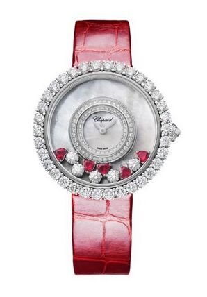 Chopard Happy Diamonds 18K White Gold, Rubies & Diamonds Ladies Watch Replica