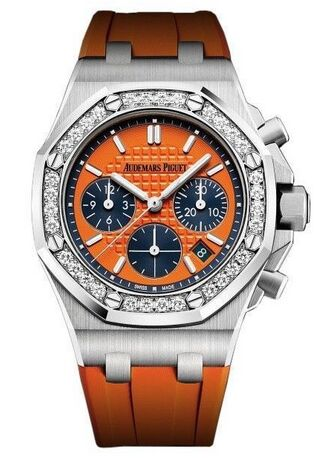 Audemars Piguet Royal Oak Offshore Selfwinding Chronograph Orange Index Diamond Stainless Steel Rubber 37mm Watch Replica
