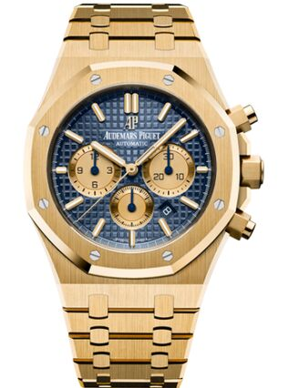 Audemars Piguet Royal Oak Chronograph 41 Yellow Gold Blue Bracelet Watch Replica