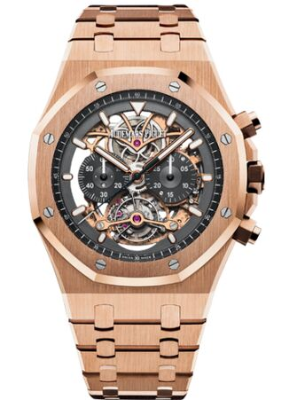 Audemars Piguet Royal Oak Tourbillon Chronograph Openworked Pink Gold Watch Replica