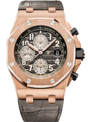 Audemars Piguet Royal Oak Offshore 26470 Pink Gold Grey Alligator Watch Replica