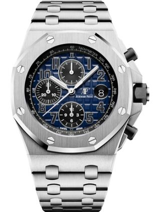 Audemars Piguet Royal Oak Offshore 26470 Platinum Smoked Blue Bracelet Watch Replica