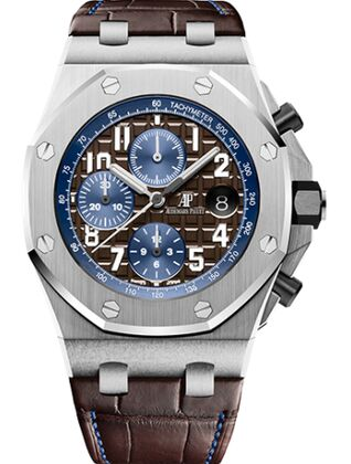 Audemars Piguet Royal Oak Offshore 26470 Stainless Steel Brown Alligator Watch Replica
