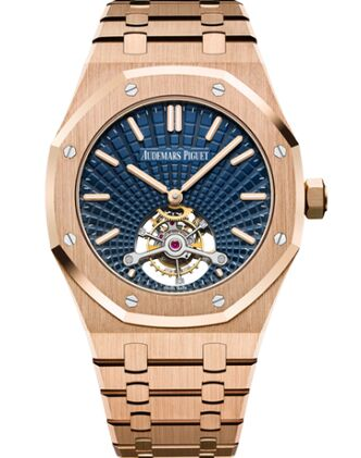 Audemars Piguet Royal Oak Ultra Thin Tourbillon Pink Gold Blue Evolutive Watch Replica