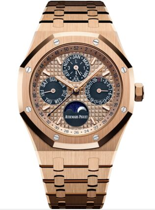 Audemars Piguet Royal Oak Perpetual Calendar 41 Pink Gold Blue Watch Replica