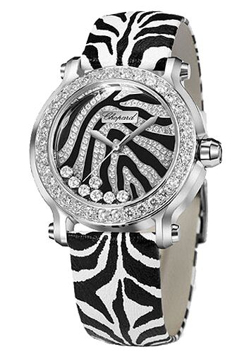 Chopard Happy Sport Zebra Special Edition In Steel With White Gold Diamond Bezel Watch Replica