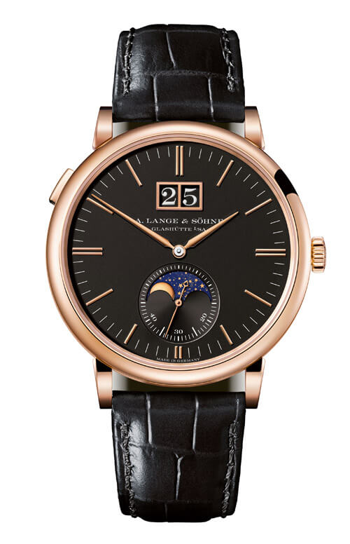 A. Lange & Sohne 384.031 Saxonia Moonphase Pink Gold/Black Replica