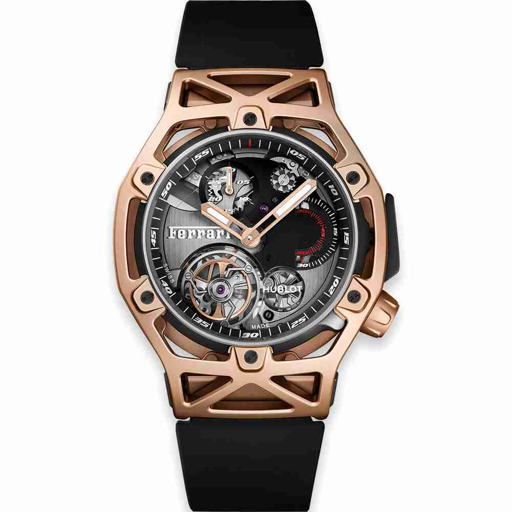 Hublot Techframe Ferrari Tourbillon Chronograph King Gold 45mm Replica