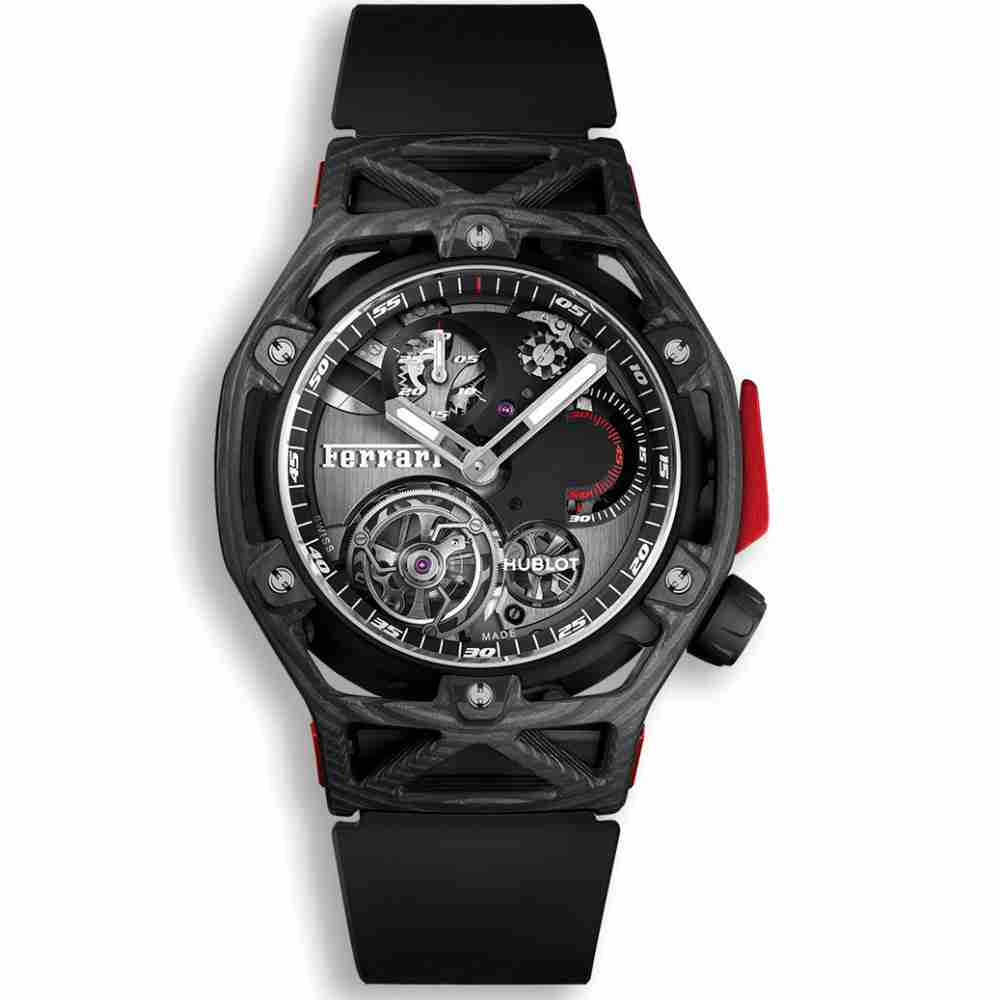 Hublot Techframe Ferrari Tourbillon Chronograph Carbon 45mm Replica