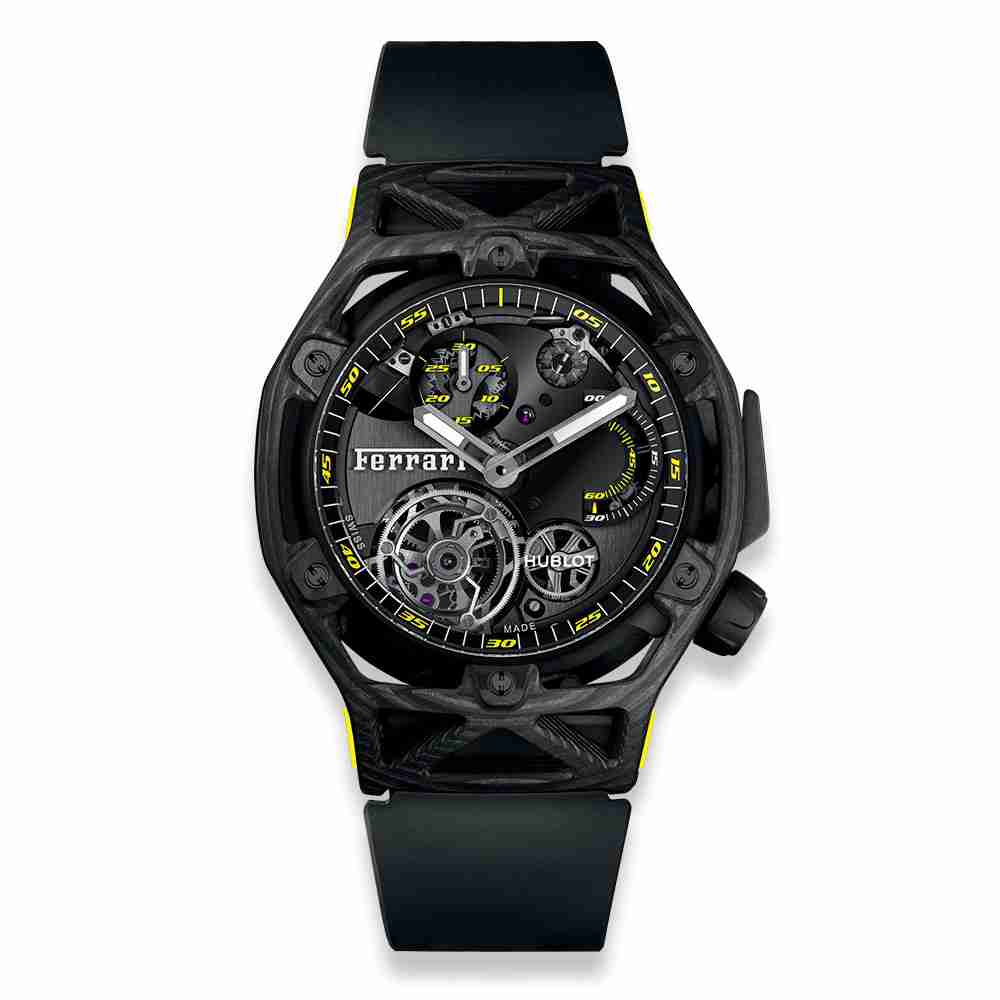 Hublot Techframe Ferrari Tourbillon Chronograph Carbon Yellow 45mm Replica