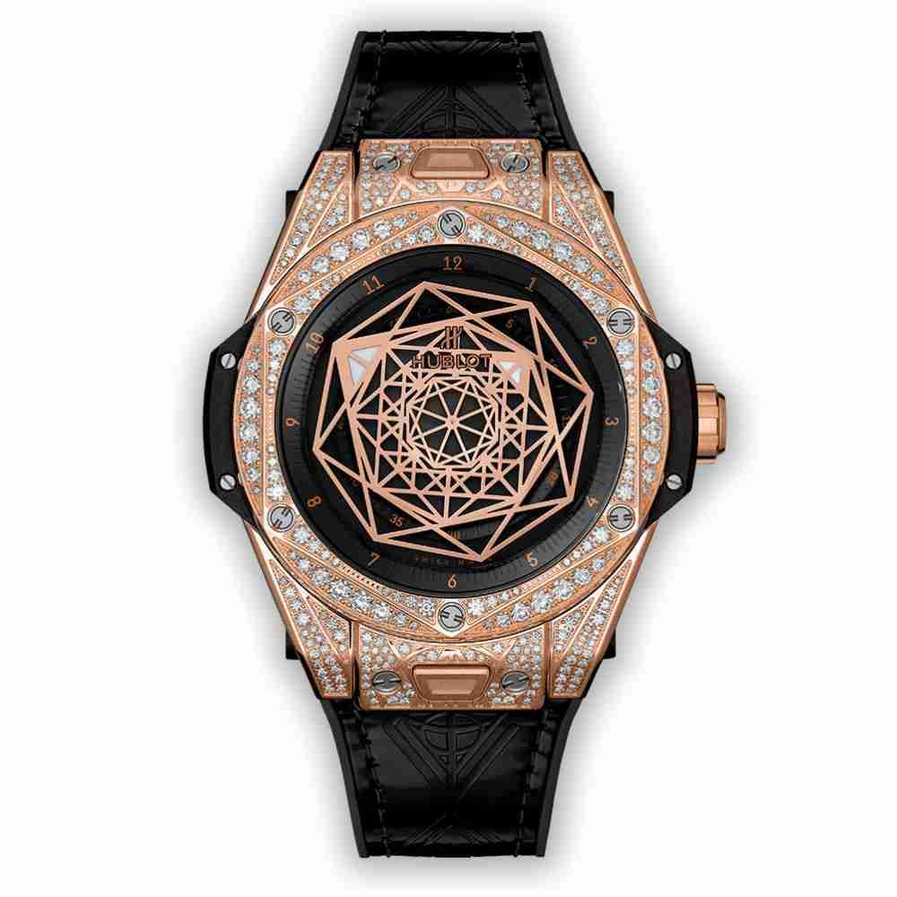 Hublot Big Bang One Click Sang Bleu King Gold Pavé 39mm Replica