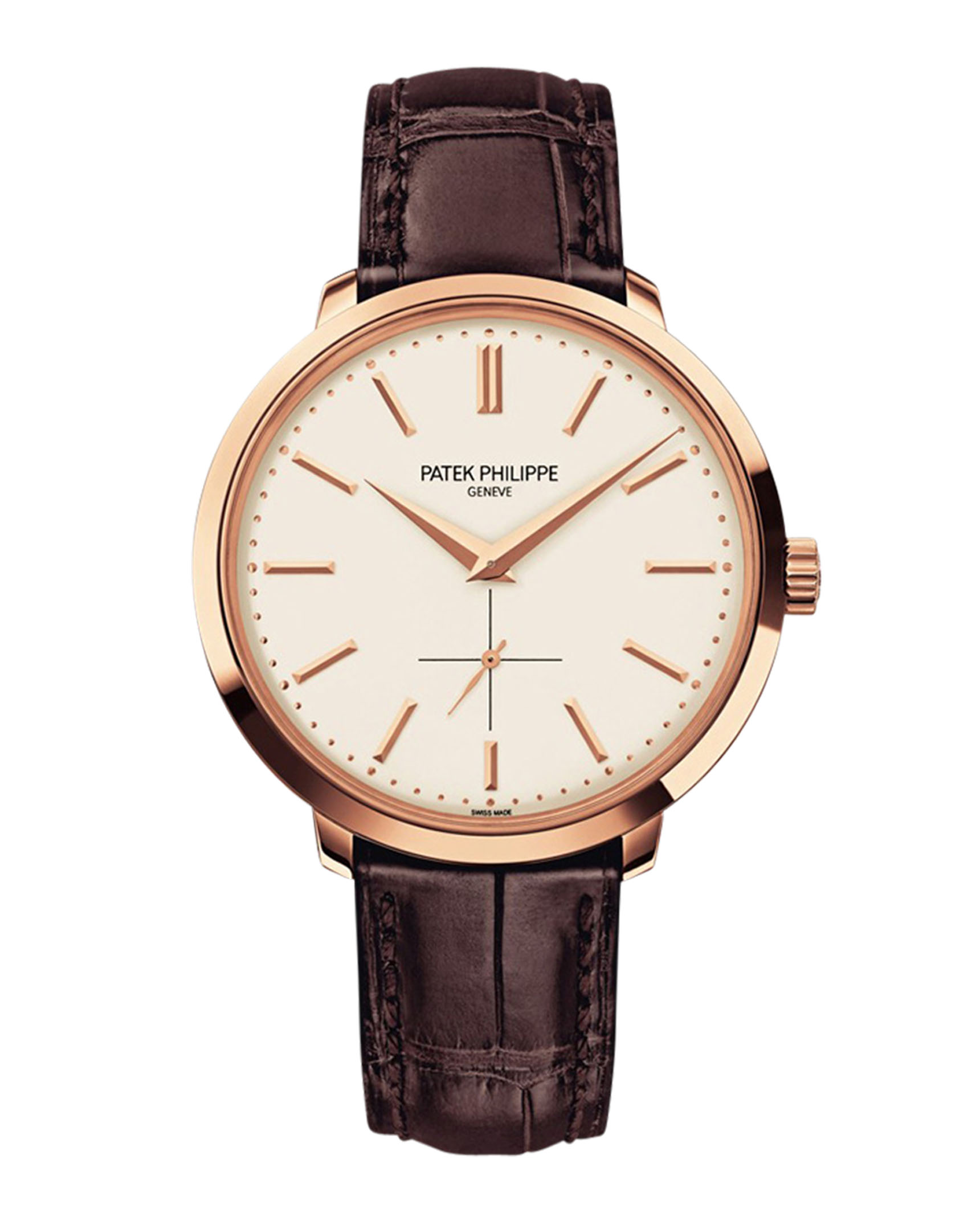 Patek Philippe Calatrava Silver Dial 18k Rose Gold Brown Leather 5123R-001