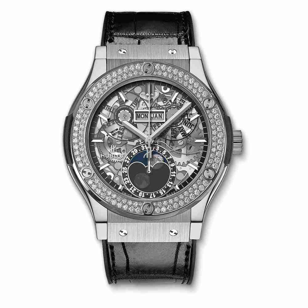 Hublot Classic Fusion Aerofusion Moonphase Titanium Diamonds 45mm Replica