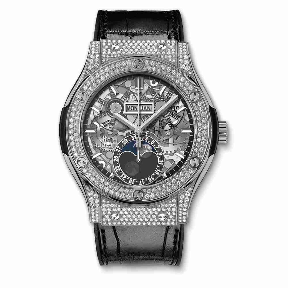 Hublot Clasic Fusion Aerofusion Moonphase Titanium Pavé 45mm Replica