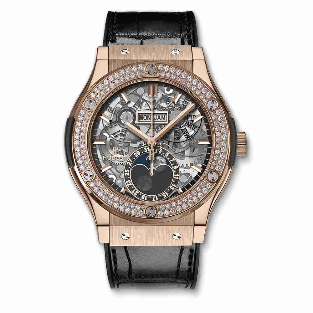 Hublot Classic Fusion Aerofusion Moonphase King Gold Diamonds 45mm Replica