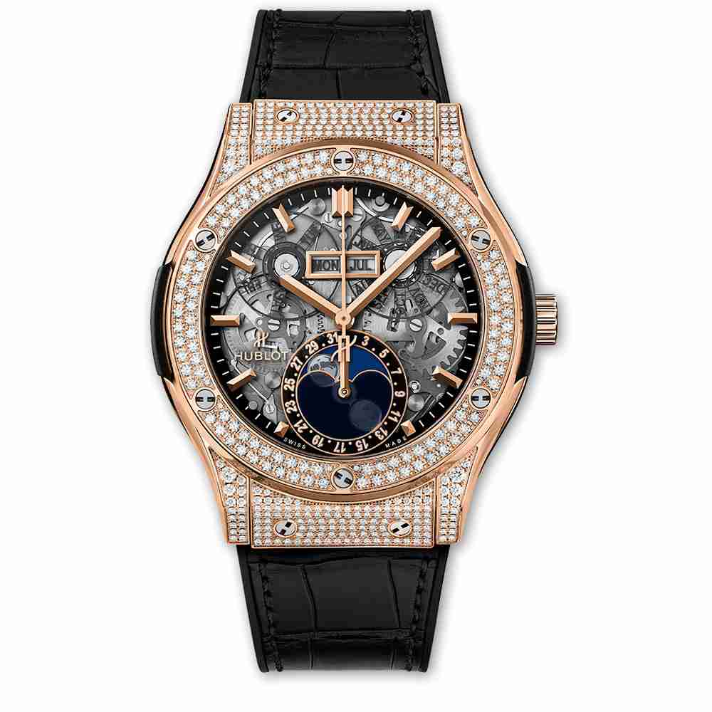 Hublot Classic Fusion Aerofusion Moonphase King Gold Pavé 45mm Replica
