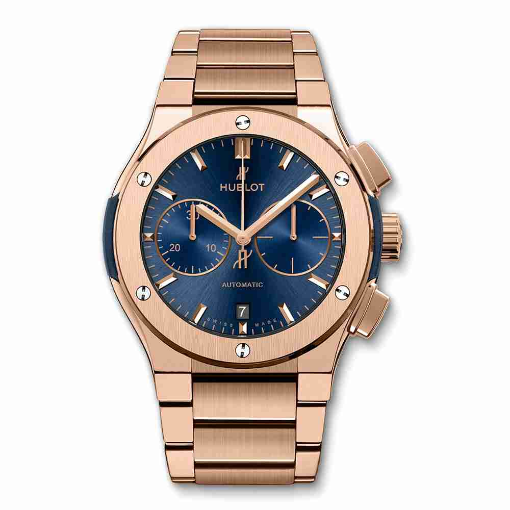 Hublot Classic Fusion Blue Chronograph King Gold Bracelet 45mm Replica