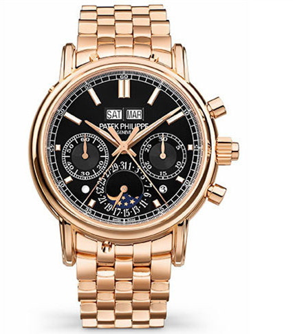 Patek Philippe Perpetual Calendar Split-Seconds Chronograph 5204 Rose Gold / Black / Bracelet 5204/1R-001