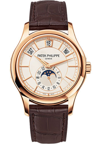 Patek Philippe Annual Calendar Opaline White Dial Brown Leather 5205R-001