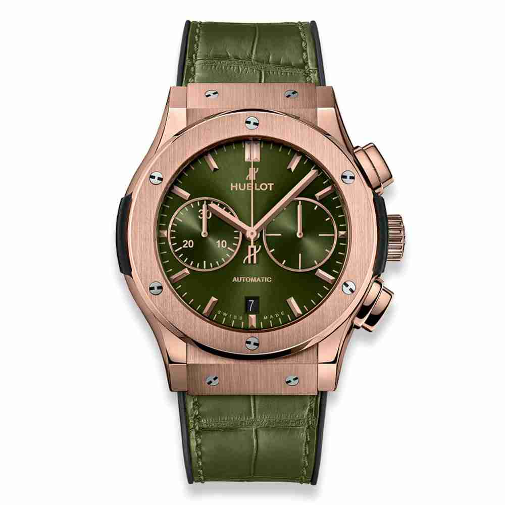 Hublot Classic Fusion Chronograph Green King Gold 45mm Replica
