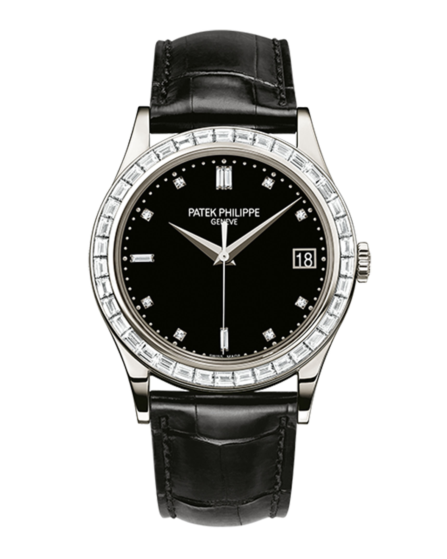 Patek Philippe Calatrava 38mm Black Baguette Diamond Bezel Date Platinum Leather BRAND NEW 5298P-012