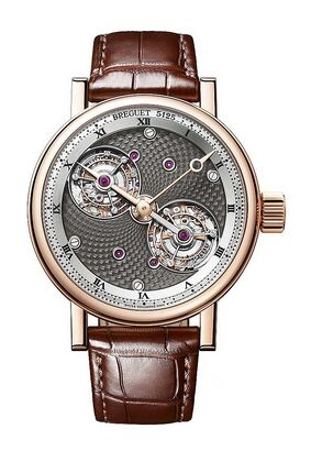 Breguet Double Tourbillon 5347 18K Rose Gold Mens Watch Replica