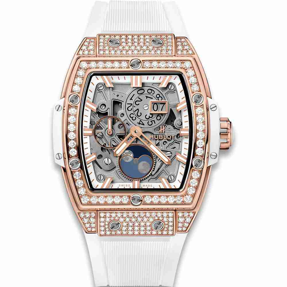 Hublot Spirit Of Big Bang Moonphase King Gold White Pav&eacute 42mm Replica
