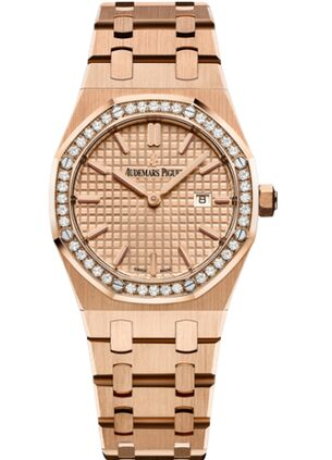 Audemars Piguet Royal Oak 67651 Quartz Pink Gold Pink Bracelet Watch Replica