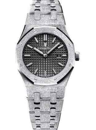 Audemars Piguet Royal Oak 67653 Quartz Frosted White Gold Pink Bracelet Watch Replica
