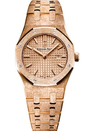Audemars Piguet Royal Oak 67653 Quartz Frosted Pink Gold Pink Bracelet Watch Replica