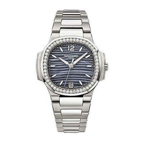 Patek Philippe Nautilus Blue Tinted Mother Of Pearl Dial Automatic Ladies Diamond 7018/1A-010