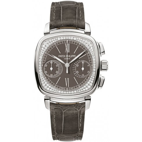 Patek Philippe Complications Pale Grey Dial Pale Grey Leather Ladies 7071G-010