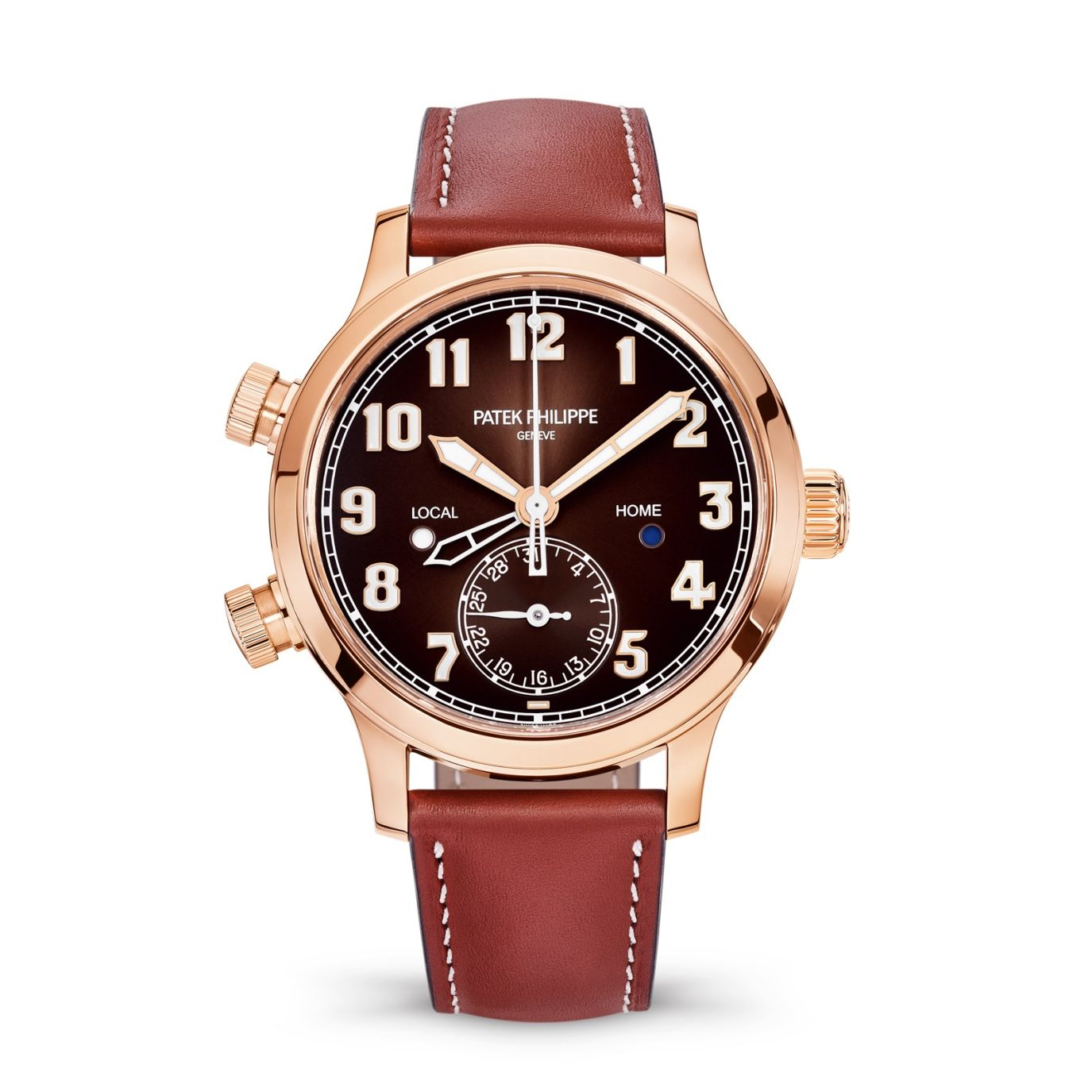 Patek Philippe Calatrava Pilot Travel Time Rose Gold / Brown 7234R-001