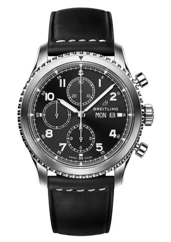 Breitling Navitimer 8 Chronograph Black Dial Leather Strap Watch Replica
