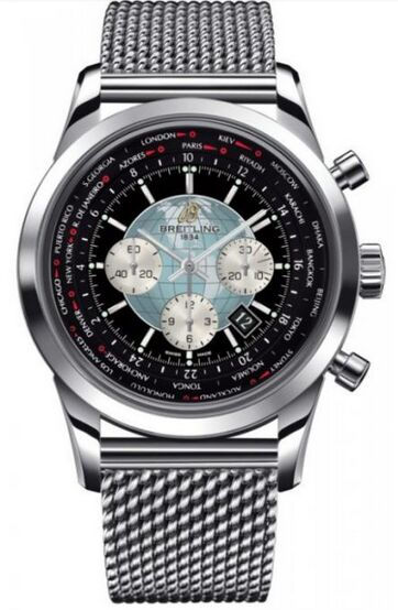 Breitling Transocean Chronograph Unitime Stainless Steel Watch Replica