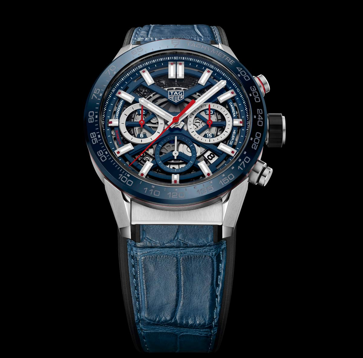 TAG Heuer CBG2011.FC6430 Carrera Calibre Heuer 02 43 Stainless Steel/Blue Ceramic/Alligator Replica