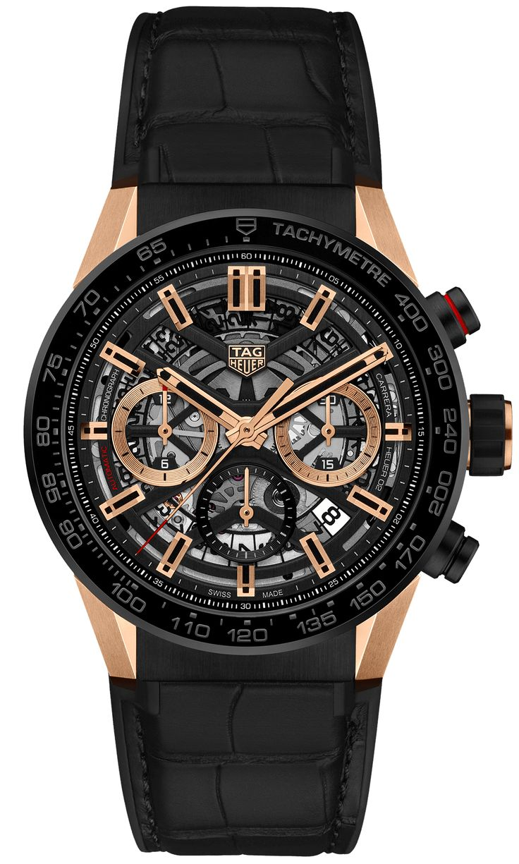 TAG Heuer Carrera Calibre Heuer 02 43 Rose Gold/Black Ceramic/Alligator Replica