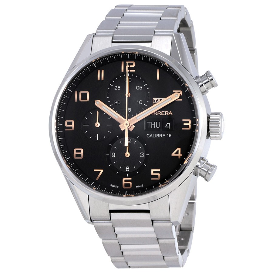 Tag Heuer Carrera Black Dial Automatic Mens Chronograph Watch Replica