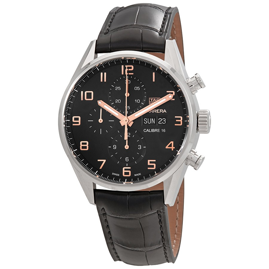Tag Heuer Carrera Chronograph Automatic Black Dial Mens Watch Replica