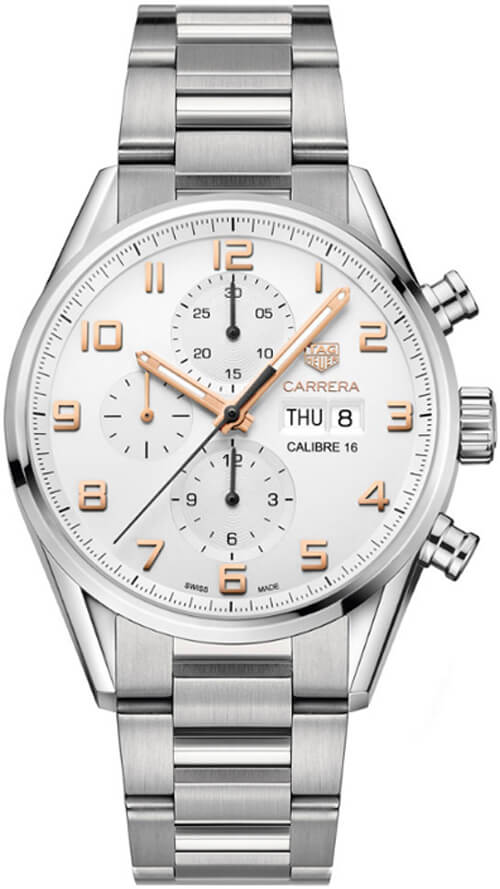 Tag Heuer Carrera Silver Dial Mens Chronograph Watch Replica