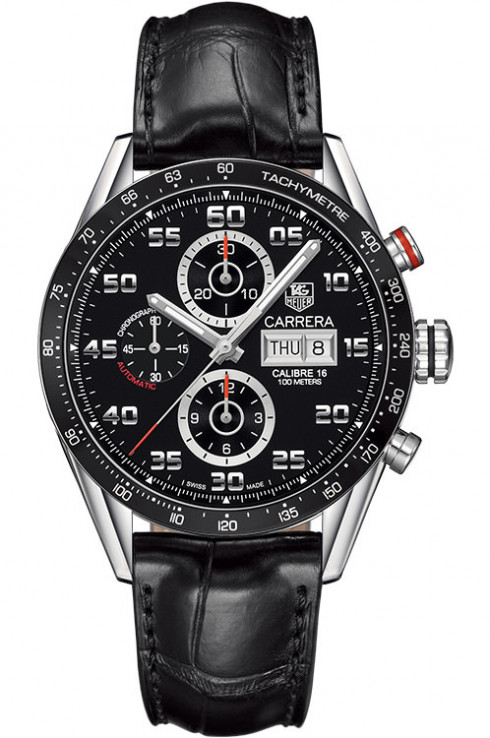 Tag Heuer Carrera Black Dial Automatic Chronograph Mens Watch Replica