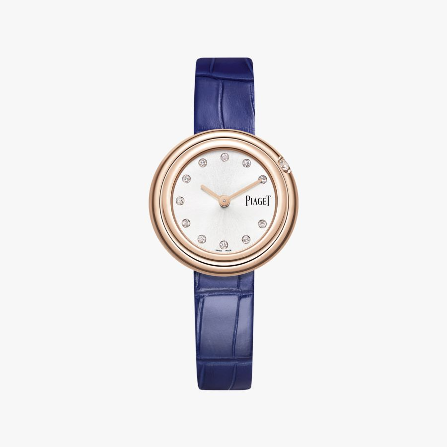 Piaget Possession Diamond Silver Dial Ladies 18K Rose Gold Leather G0A43081