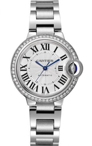 Cartier Ballon Bleu Silver Flinque Sunray Dial Ladies W4BB0016