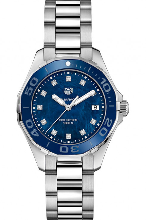 Tag Heuer Aquaracer Blue Mother of Pearl Diamond Dial Ladies Watch Replica - Click Image to Close