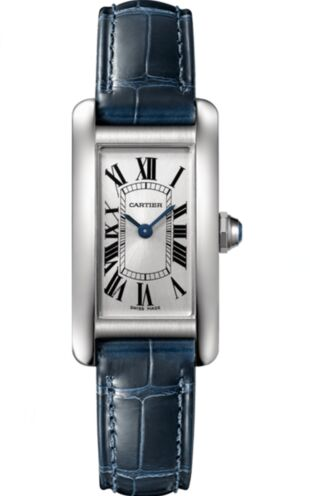 Cartier Tank Americaine Silver Dial Navy Leather Ladies WSTA0016